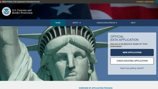 Don't be fooled by imitations. This is what the correct ESTA application website looks like.