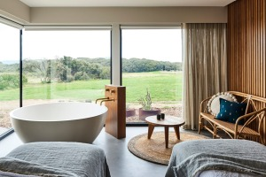 Spa room at Lon Retreat and Spa, Bellarine Peninsula, Victoria.