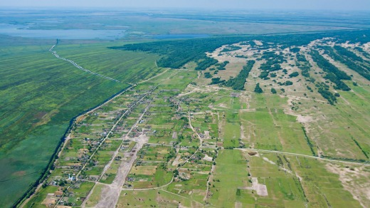 An aerial view of the village of Letea.