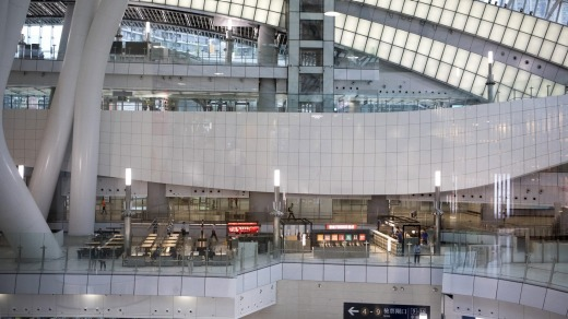 West Kowloon Station, which houses the terminal for the Guangzhou-Shenzhen-Hong Kong Express Rail Link.
