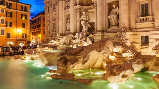 The Trevi Fountain in Rome, a triumphant expression of baroque magnificence, was recently restored.