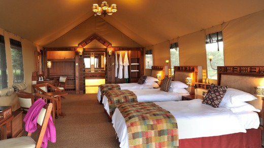 At Sweetwaters Serena Camp, 50 stylish en-suite tents, covered with thatched roofs look out to Mt Kenya.