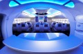 Seats in the business-class cabin mock-up of the Boeing 787-8 Dreamliner in the Boeing Customer Experience Center.