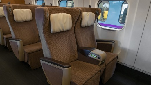 The Green Car (business class equivalent) is fitted out in a 2-2 configuration.