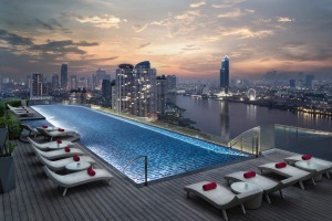 The rooftop pool offers incredible views.