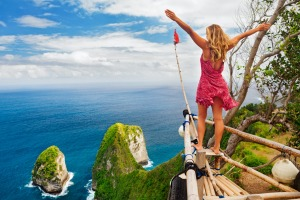Viewpoint at Kelingking beach, Nusa Penida Island, Bali.