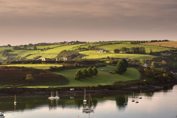 View of sail boats in Kinsale Harbour, Co Cork.