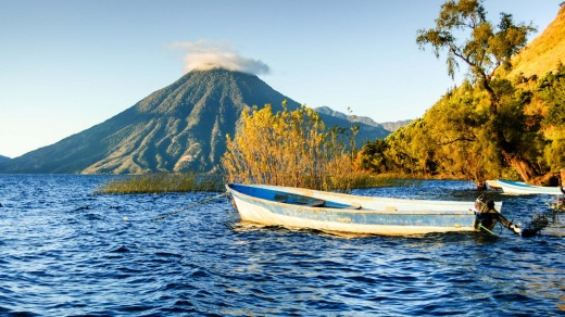 San Pedro Volcano, seen across Lake Atitlan  in the Guatemalan highlands.