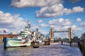 HMS Belfast on the River Thames, near  Tower Bridge, London.
