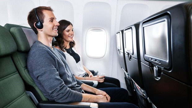 Seat width is more than adequate but leg-room is limited in Qantas' Boeing 747 economy cabin.