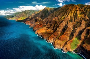 Napali Coast, from the air. There are only three ways of seeing this world-renowned formation. By air, by sea, or by ...