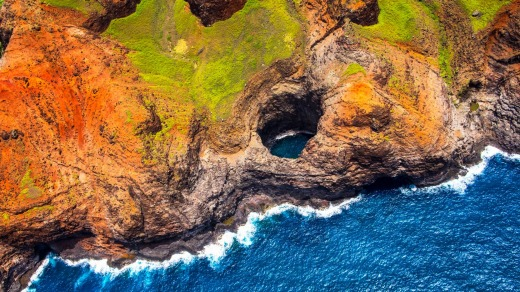 An open ceiling cave on the Napali coastline.