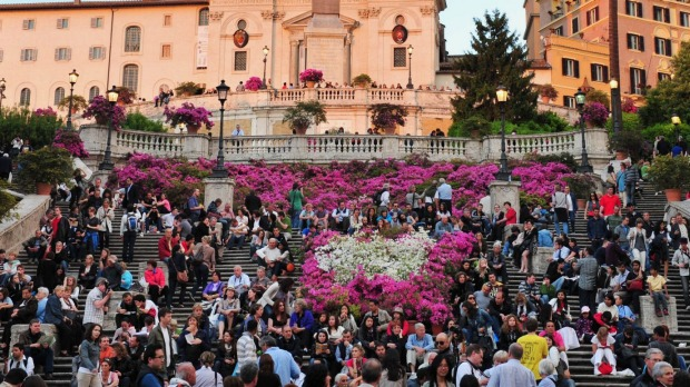 The Spanish Steps in Rome, Italy.