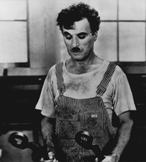 Charlie Chaplin in a scene from the 1936 film Modern Times.