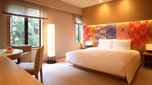 A guest room at the Hyatt Regency Kyoto.