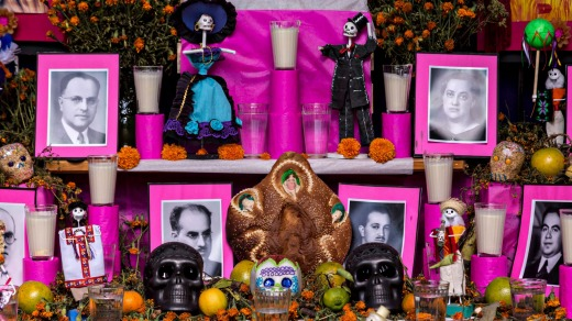 An altar, or ofrendas, set up to celebrate the Day of the Dead festival.