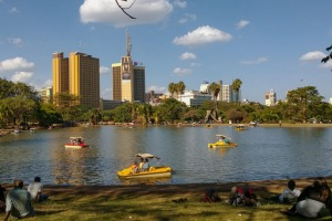 The Nairobi City skyline seen from Uhuru Park.