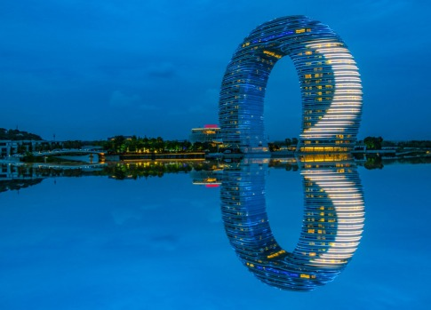 HOT SPRING RESORT, HUZHOU: Designed by the appropriately named MAD Architects, this Sheraton hotel rises beside Taihu ...