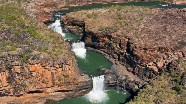 Aerial shot of Mitchell Falls after the wet season.