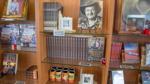 Gifts and items named after the famous Australian country singer on display at  the Slim Dusty Centre.