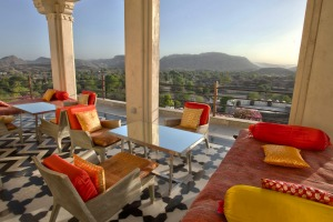 The restaurant terrace at RAAS Devigarh in Delwara.