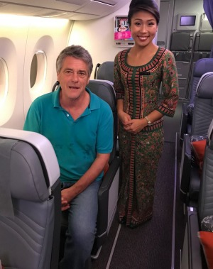 The writer tries out one of the solo premium economy seats at the rear of the aircraft.