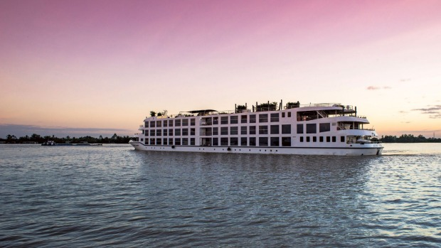 The luxury river cruise ship Scenic Spirit sailing between Ho Chi Minh City and Siem Reap.