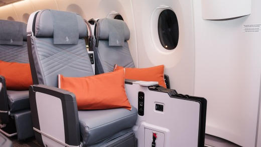 Premium economy seats on board the A350-900ULR. The fixed console means no spreading out to lie down on vacant seats.