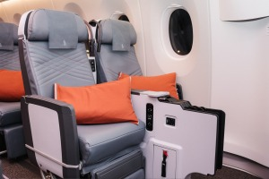 Premium economy on board the Singapore Airlines Airbus A350.