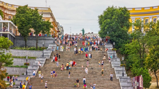 Odessa's Potemkin Steps, the giant staircase made famous by Sergei Eisenstein's epic 1925 movie <i>Battleship Potemkin</I>.
