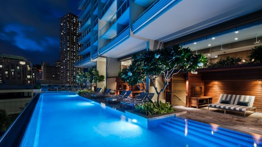 The pool at Waikiki Ritz-Carlton Residences.