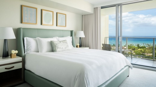 A bedroom at Waikiki Ritz-Carlton Residences.