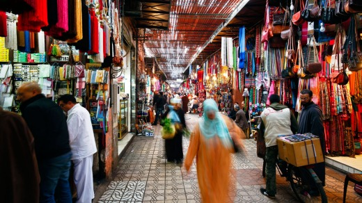 In the souk, Marrakech, Morocco.