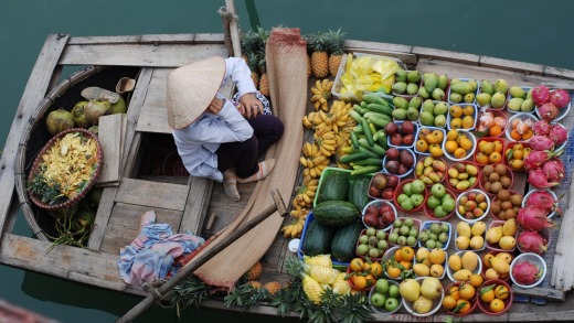 A floating market in Vietnam.