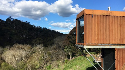 Clifftop at Hepburn's new villas are constructed from shipping containers.
