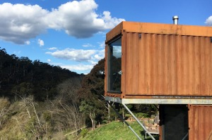 Clifftopat Hepburn's new villas are constructed from shipping containers.