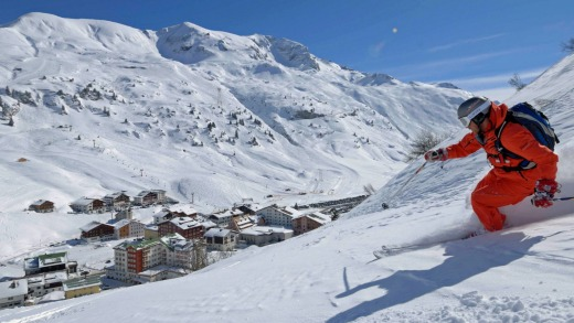 Skiing above the village.