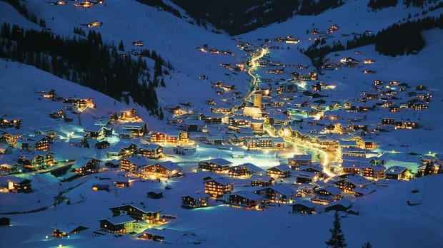 Lech am Arlberg at night.