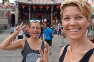 Martina Sebova (left) and Rachel Davey in Taiwan. The pair are attempting to visit every country in the world and have ...