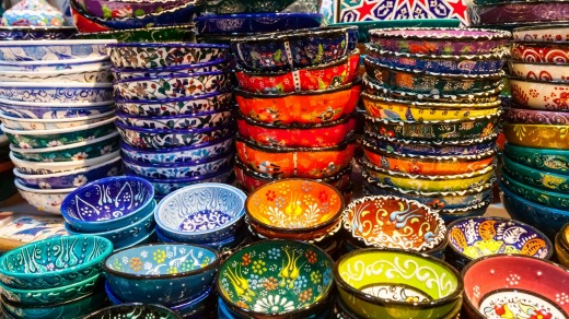 Classical Turkish ceramics in Istanbul's Grand Bazaar.