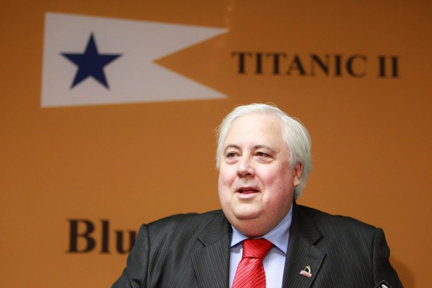 Clive Palmer at a 2012 press conference in Brisbane announces he will be building Titanic II.