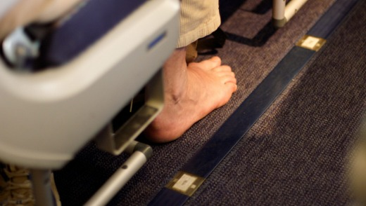 Bare feet on planes: Unsightly, unmannerly and an offence to all.