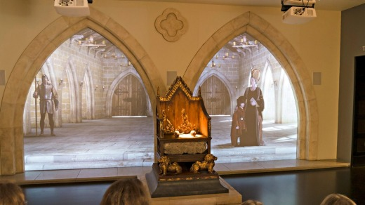 Multi-media audio visual presentation of King Richards life at the King Richard III Visitor Centre, Leicester.