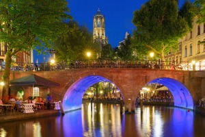 Night Dom Tower and bridge, Utrecht, Netherlands.