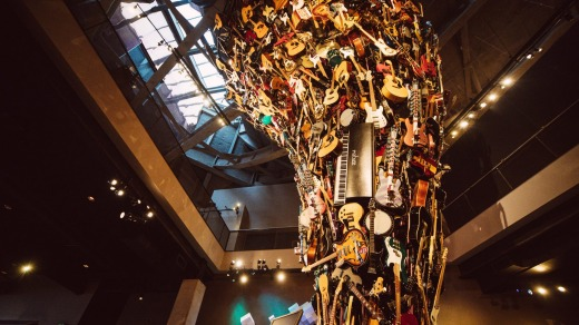 A giant sculpture  made from guitars is the centrepiece of the museum.