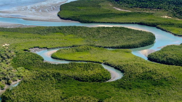 A river meanders through Bijagos Archipelago, Guinea Bissau, which has diverse ecosystems  that shelter exceptional ...
