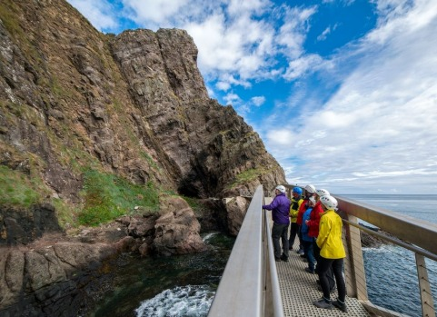 A tour group at the Gobbins in Islandmagee located on the Causeway Coastal Route.