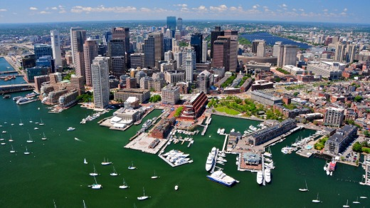 Aerial view of Boston, US.