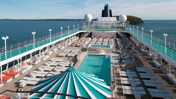 The main pool deck on Crystal Symphony.