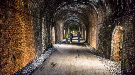 A bricked tunnel on the former railway route.